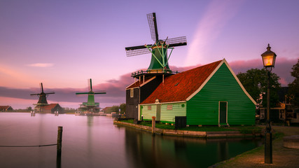 Twilight at Zaanse Schans, windmills village, near Amsterdam