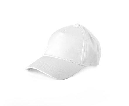 White Baseball Cap on white background.