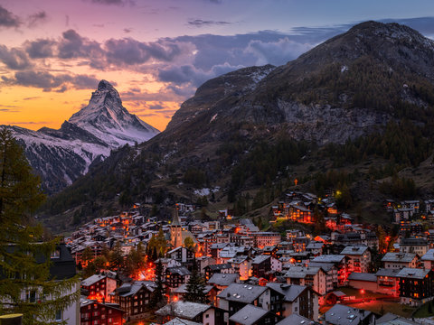 Sunset over old town of Zermatt with Mount Matterhorn in background
