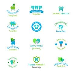 Dentist logo implants vector medical symbol collection. Clean dentist logo bright designs medical icon health care. Healthy hygiene dentist logo, oral blue logotype implant dent business shape.
