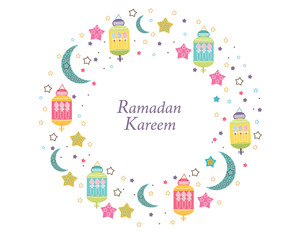 Ramadan Kareem with Lamps, Crescents and Stars. Traditional lantern of Ramadan circle frame colorful vector illustration