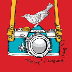 The poster with the image of the camera and bird. Vector illustration.