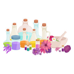 Bottles with organic essential aroma oil and soap bar set