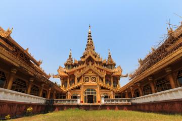 BAGO, MYANMAR - APRIL 26: The palace of the king in Myanmar in the past. Kambawzathardi golden palace. Kambodza Thadi Palace, Kanbawzathadi Palace in Bago, Myanmar 26 April 2016.