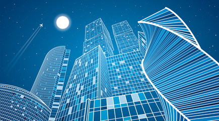 Business building, neon city, infrastructure illustration, modern architecture, skyscrapers, airplane flying, vector design art