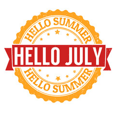 Hello july stamp