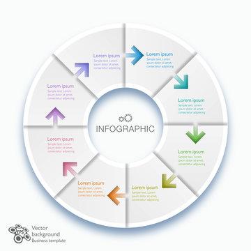 Infographics Vector Arrow Buttons, 8-Step Process