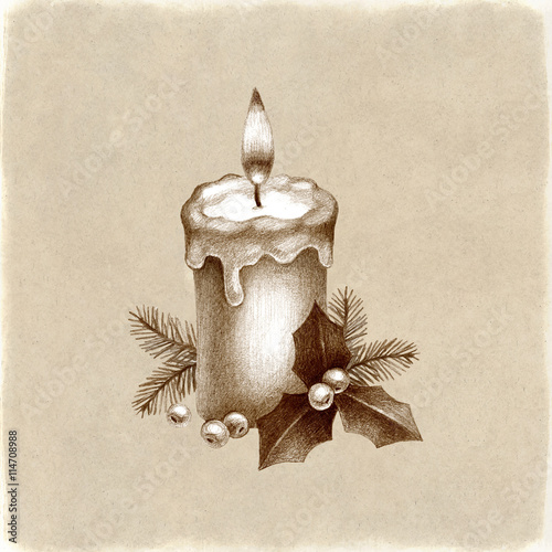 christmas candle pencil drawing