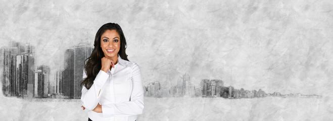Businesswoman With Skyline