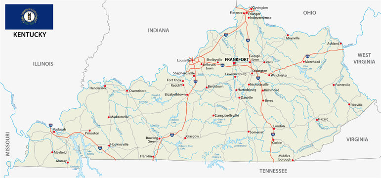 road map with flag of the US state kentuckey