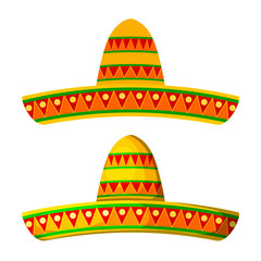 Two Colored Cartoon sombrero on a white background. Isolate. Wid