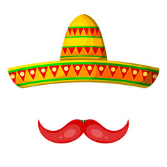 Colored Cartoon sombrero and pepper mustache on a white backgrou