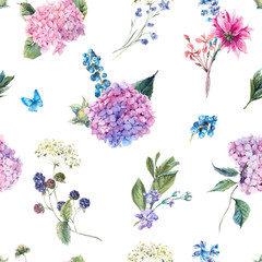 Floral seamless pattern with Hydrangea