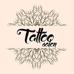 Tattoo salon emblem logo with mandala