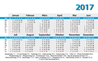 Kalender 2017 Jahresplaner Jahreskalender Gesetzliche Feiertage