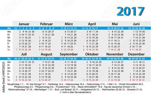 2017 Jahreskalender