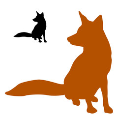 red fox sits a black silhouette vector illustration
