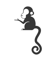 Cute animal concept represented by cartoon monkey icon. Isolated and Flat illustration