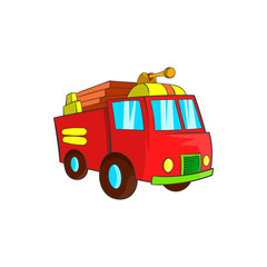 Fire truck icon, cartoon style