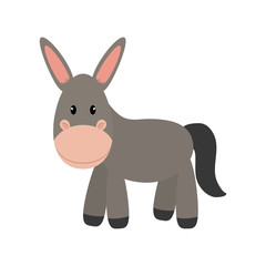 Cute animal concept represented by donkey icon. isolated and flat illustration