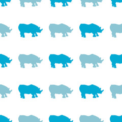 Vector seamless pattern with rhinoceros. Can be used for, wallpaper, pattern fills, web page background, surface textures.