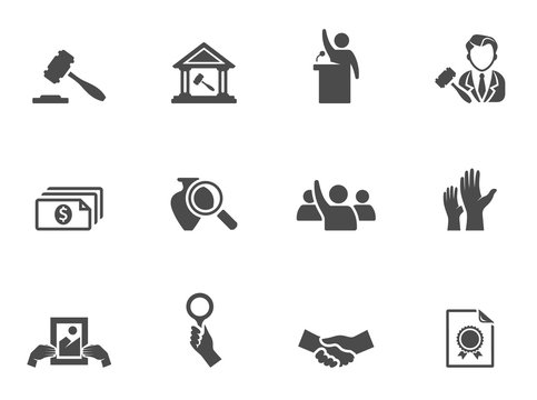 Auction icons in black & white.
