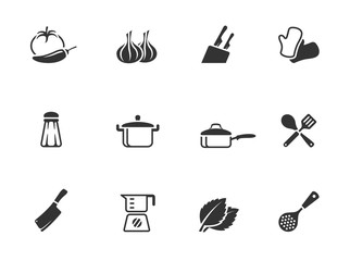 Cooking icons in single color.