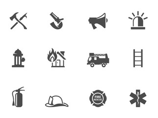 Fire fighter icons in black & white.