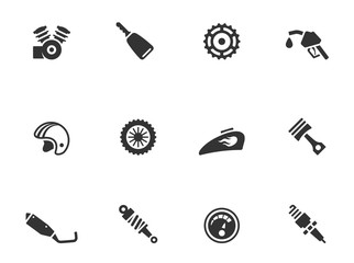 Motorcycle parts icons in single color.