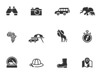 Safari icons in black & white.