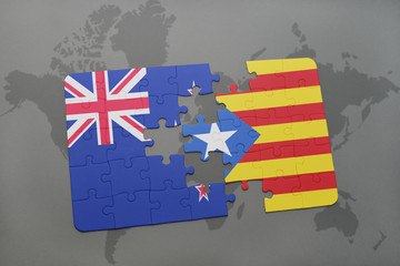 puzzle with the national flag of new zealand and liechtenstein on a world map background