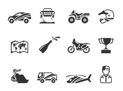 Rally related icons in single color.