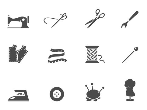 Sewing icons in black & white.