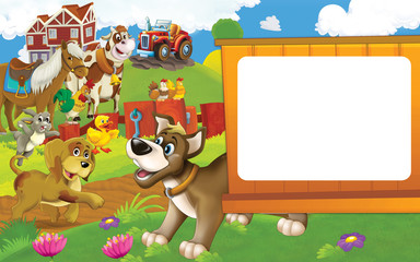Papiers peints Ferme Cartoon farm scene with different animals - dogs rabbit duck cow and hen - illustration for children