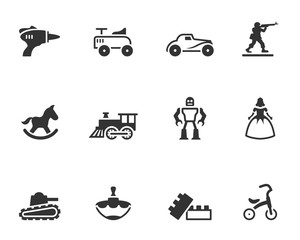 Vintage toy icons in single color.