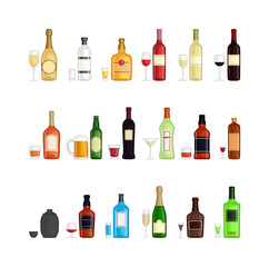 Alcohol drinks beverages and cocktail whiskey drink bottle lager refreshment container. Alcohol menu drunk concept. Set of different alcohol drink bottle and glasses vector illustration.