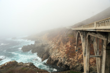 Fog over a bridge near Big Sur California