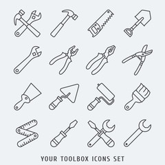 toolbox icons set