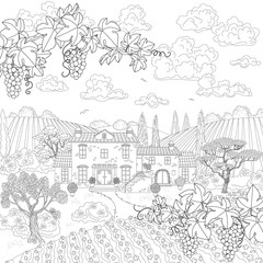 Cartoon contoured landscape with house, trees and grape branches
