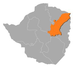 Map - Zimbabwe, Mashonaland East