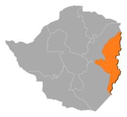 Map - Zimbabwe, Manicaland