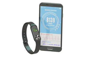 activity tracker or fitness bracelet with smartphone, 3D renderi