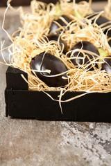 Fresh eggplants of different color on dark wooden background. Ve