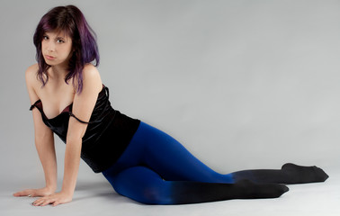 Woman in Velvet Top and Ombre Tights