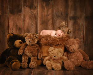 Newborn Baby Sleeping with Teddy Bears in Basket