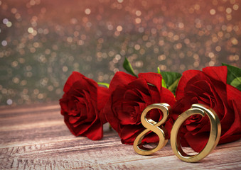 birthday concept with red roses on wooden desk. eightieth. 80th. 3D render