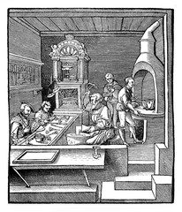 Goldsmith workshop, engraving XVI century