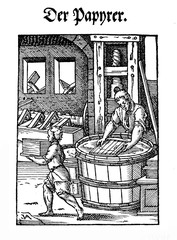 The paper maker workshop, engraving XVI century
