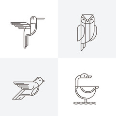 Set of vector line art logo with birds. Outline illustrations of hummingbird, owl, pigeon and swan. Trendy icons and design elements.