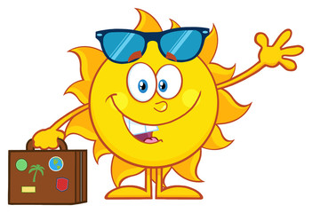 Smiling Summer Sun Cartoon Mascot Character With Sunglasses Carrying Luggage And Waving